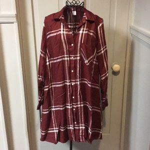 NWOT Old Navy Plaid Shirt Dress